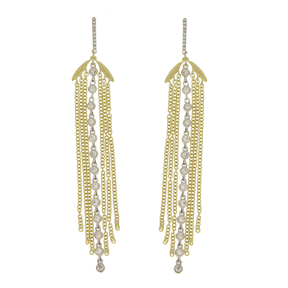 Yellow Gold Fringe and Bezel Earring