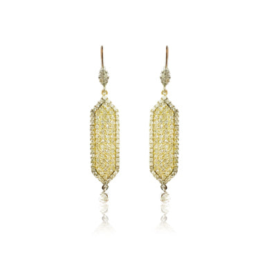 Two Tone Yellow Gold Drop Earrings