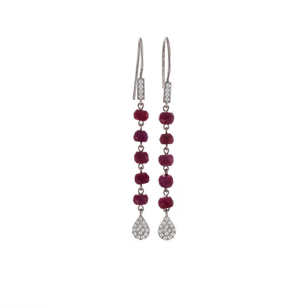 White gold and Ruby Drop Earrings