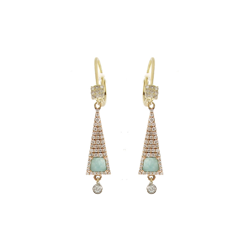 Amazonite Bezel Drop Earring