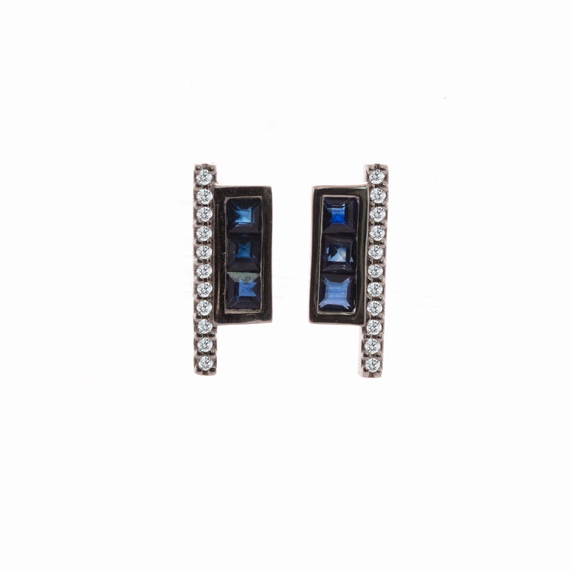 Blue Sapphire and Diamond Geometric Studs