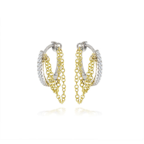 Diamond huggie earring with chain