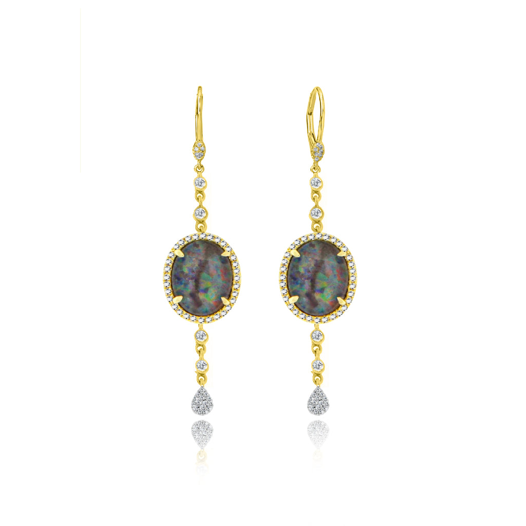 Yellow Gold Diamond and Opal Earrings