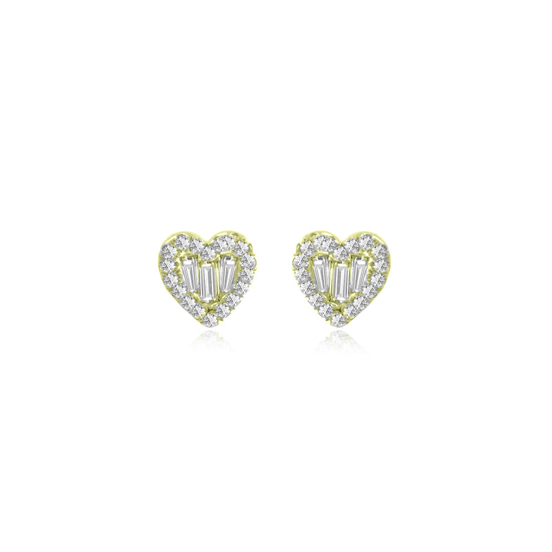 Yellow Gold Diamond Heart Studs