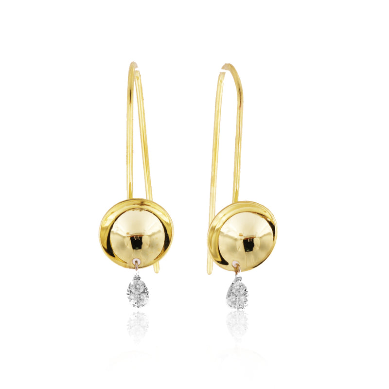 Yellow Gold Drop Sphere Earrings