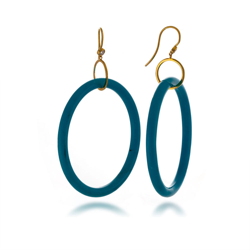 Turquoise Hoop Earrings LAST ONE