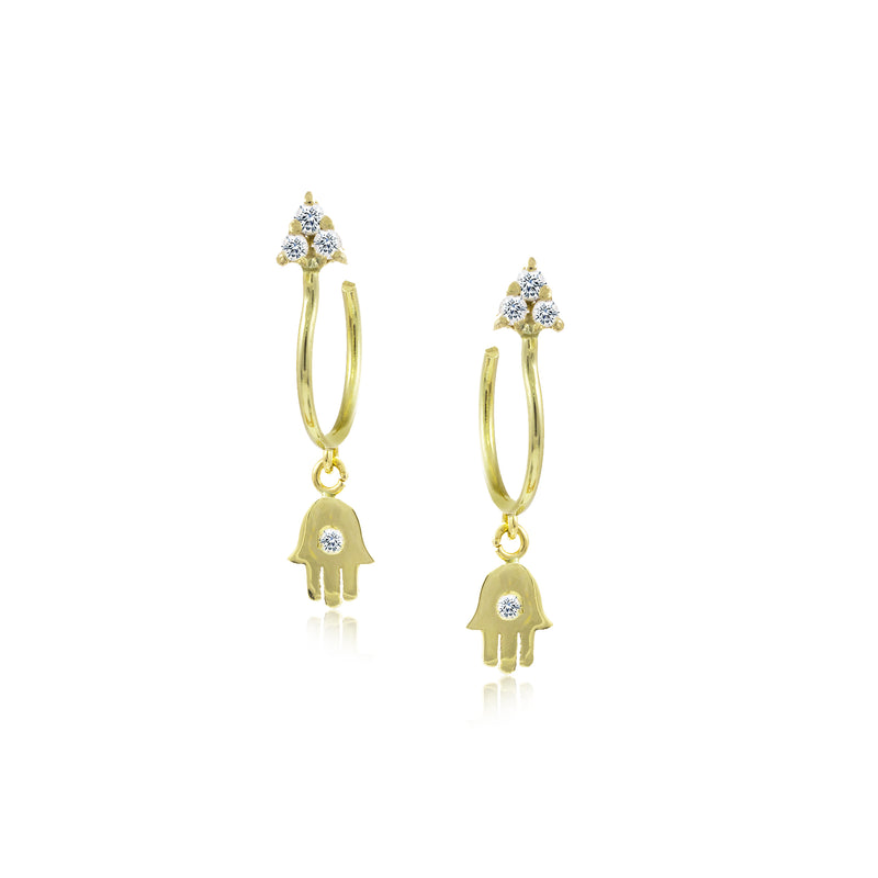 Hamsa Yellow Gold Charm Earrings