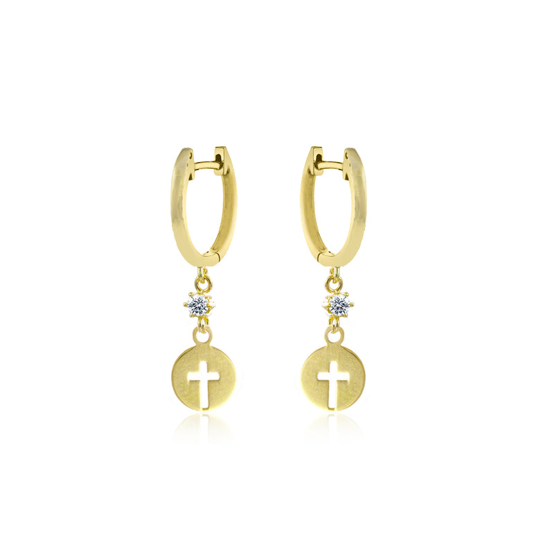 Yellow Gold Cross Coin Earrings