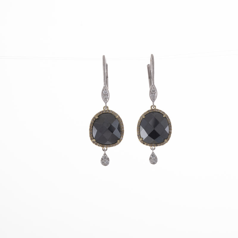 Hematite Yellow and White Gold Drop Earring