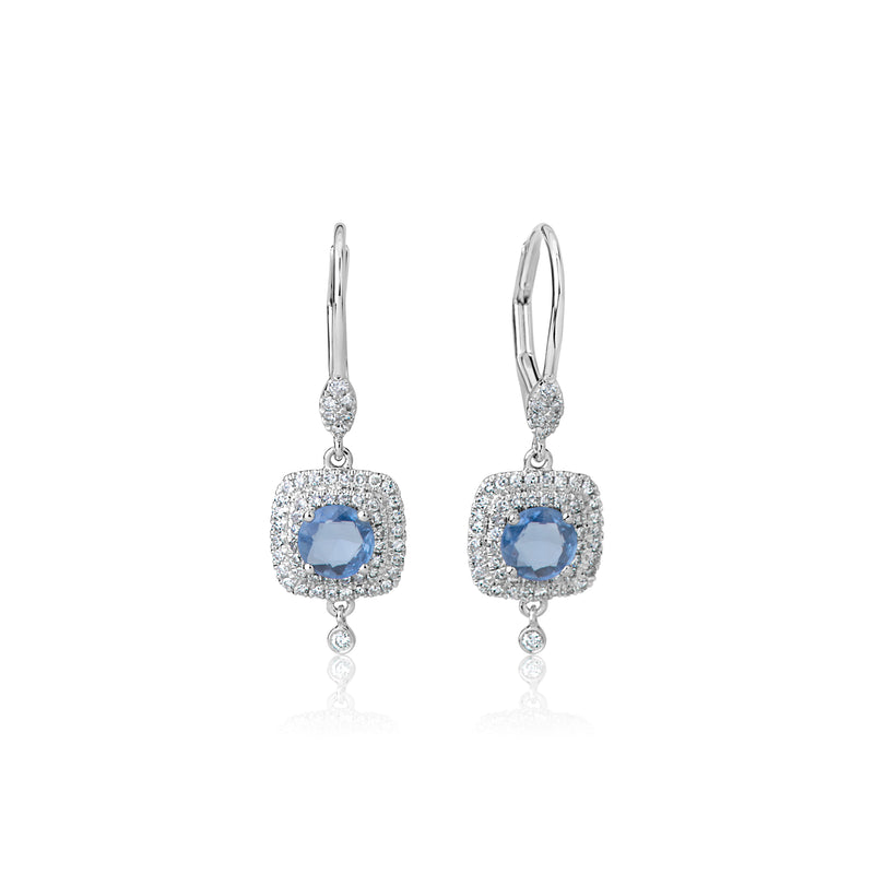 Blue Topaz Diamond Drop Earrings