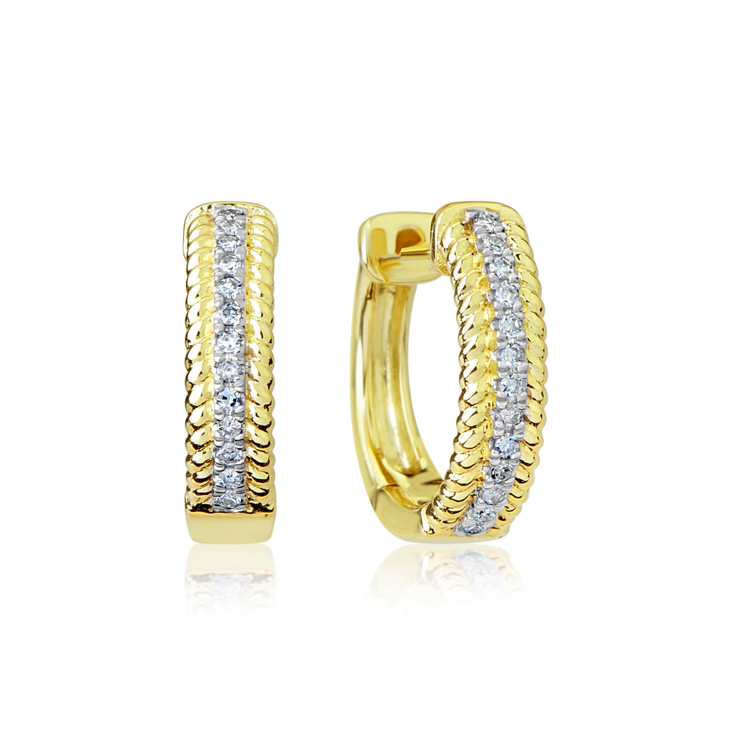 Yellow Gold and Diamonds Hoops
