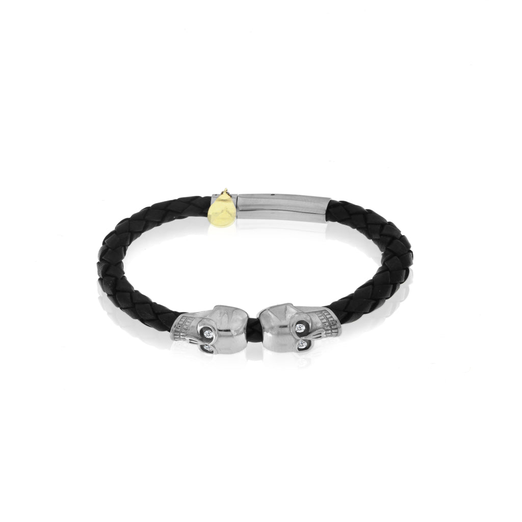Skull Leather Bracelet Men's