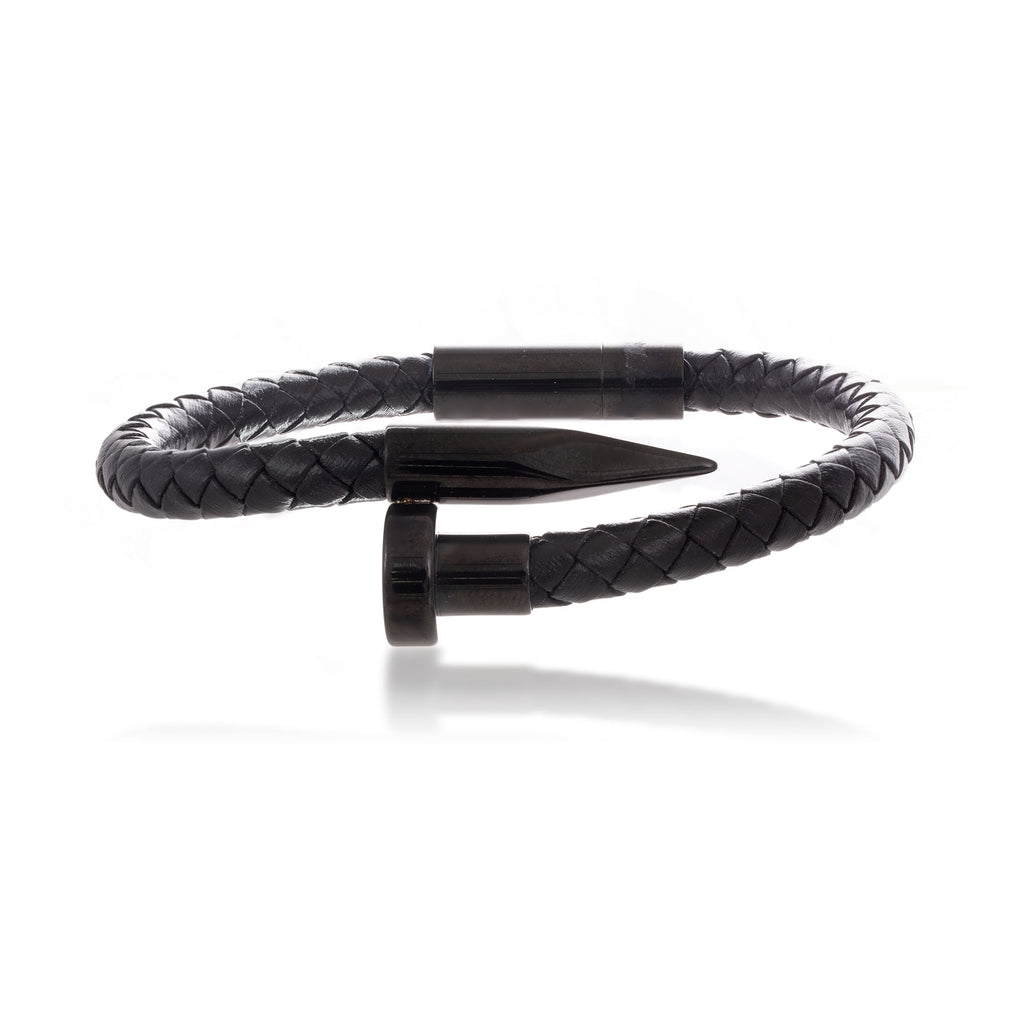Braided Leather Nail Bracelet