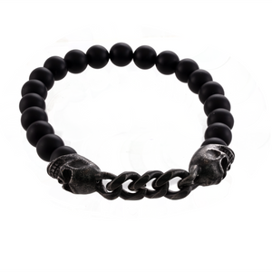 Skull and Beads Stretch Bracelet