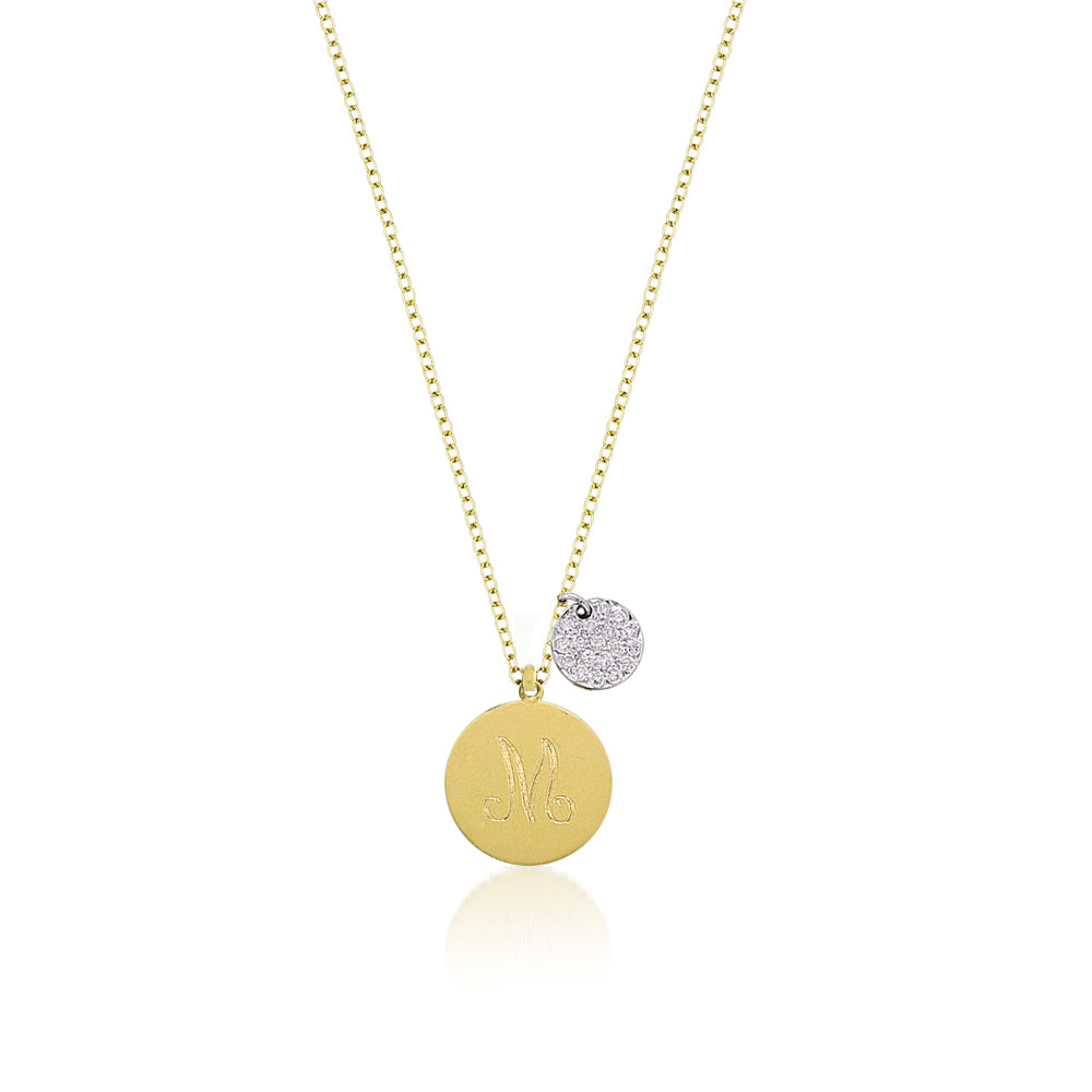 Engraved Yellow Gold Disc with Diamond Charm