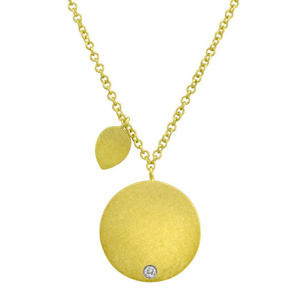 Yellow Gold and Diamond Engravable Disc Necklace