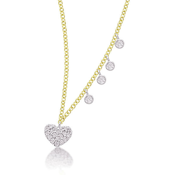 14kt gold pave heart diamond necklace