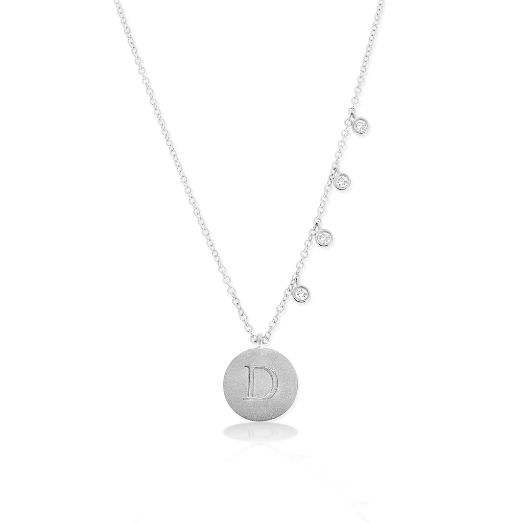 Engraved Initial Disc Necklace with Diamond Bezels
