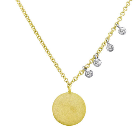 Meira T Yellow Gold Disc and Diamond Bezel Necklace