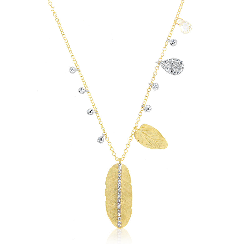 Leaf and Feather Gold Necklace