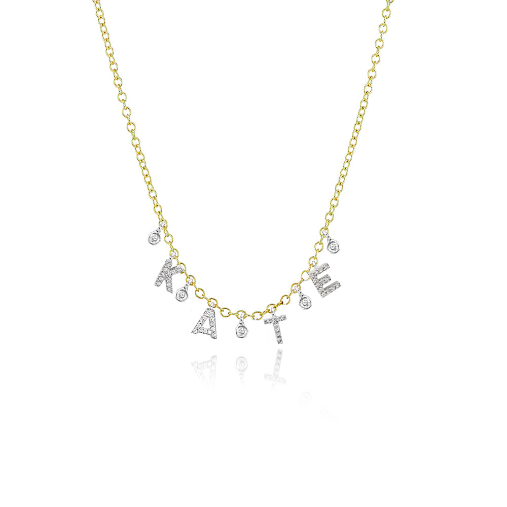diamond initial necklace-Meira T