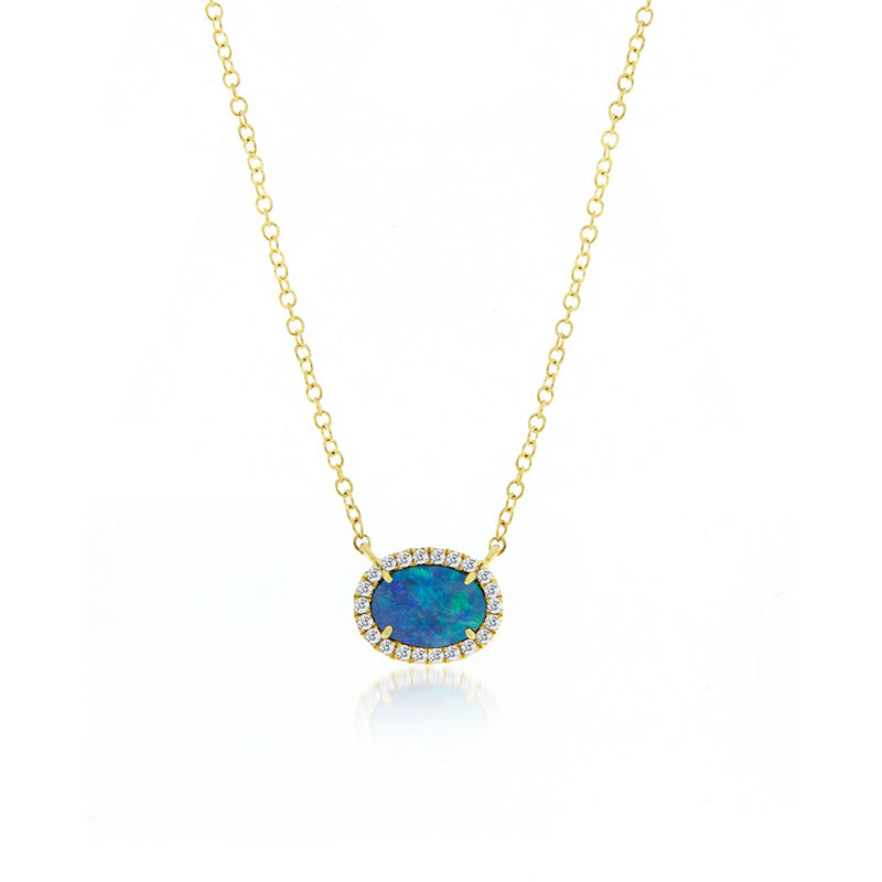 Meira T Australian Opal and Diamond Necklace