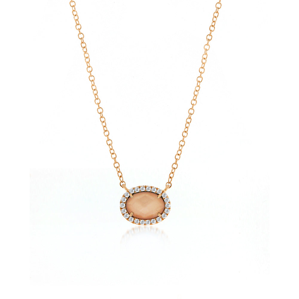 Meira T Pink Opal and Diamond Necklace