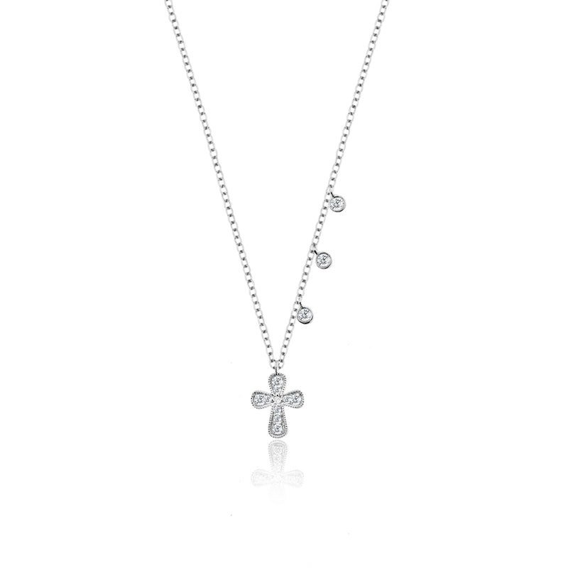 Diamond Cross Necklace with Diamond Bezels