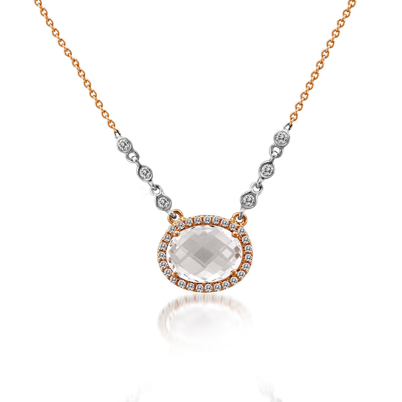 topaz rose gold necklace