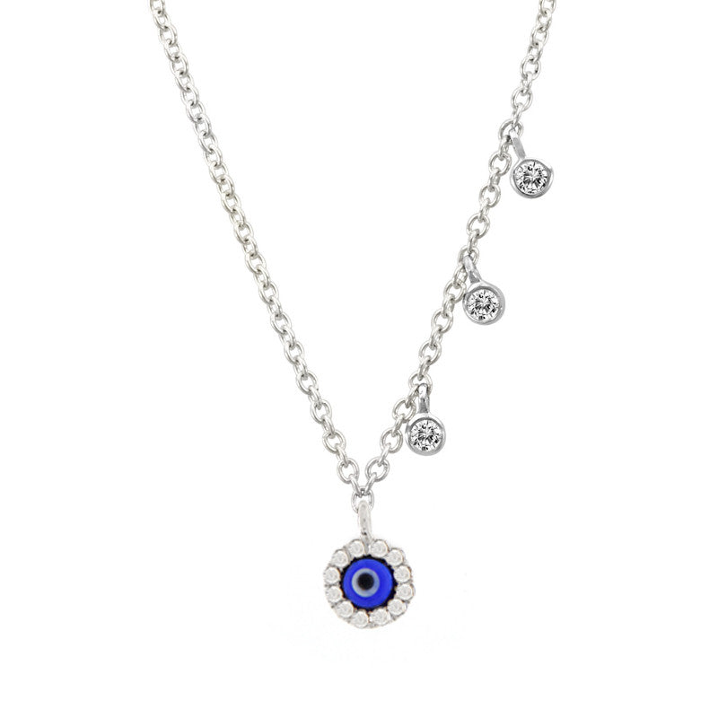 Mini Evil Eye Necklace in White Gold