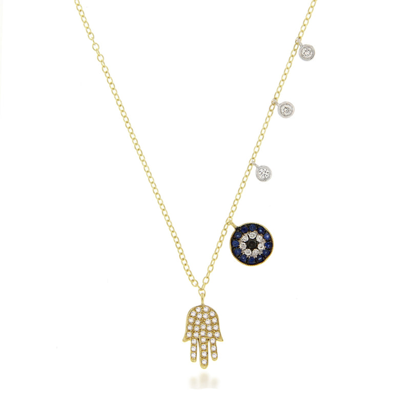 Pave Hamsa and Evil Eye Necklace