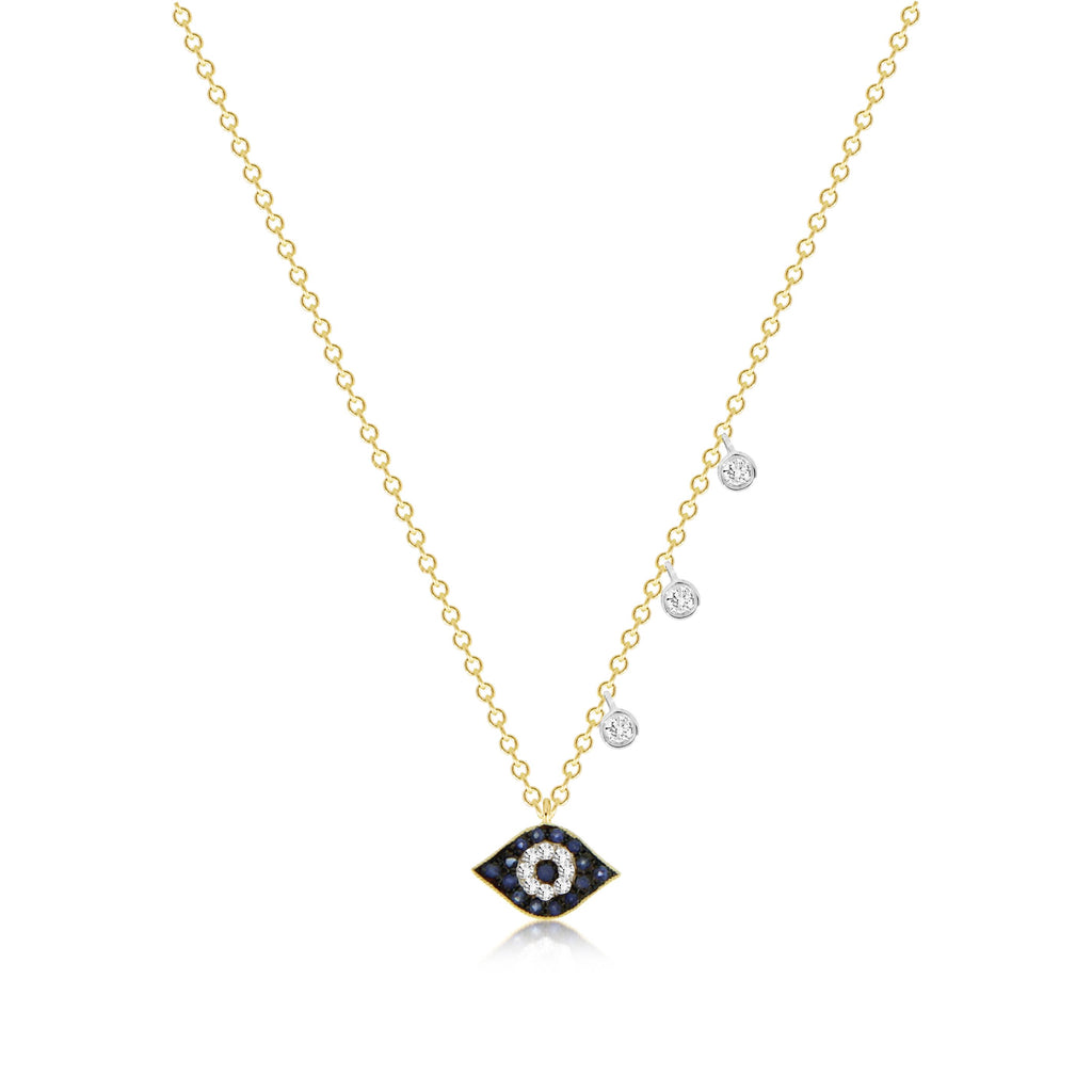 Sapphire Evil Eye Necklace Diamond Bezel Accents
