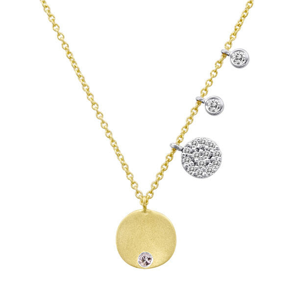 Meira T Yellow Gold Disc Necklace with Burnished Diamond in Center