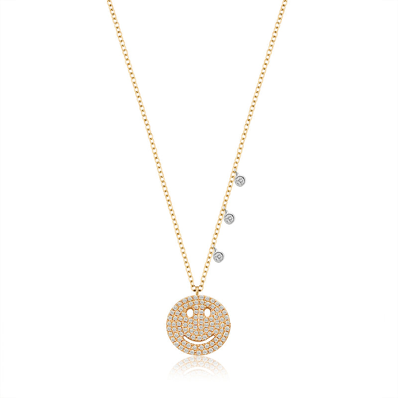 Diamond Happy Face Necklace