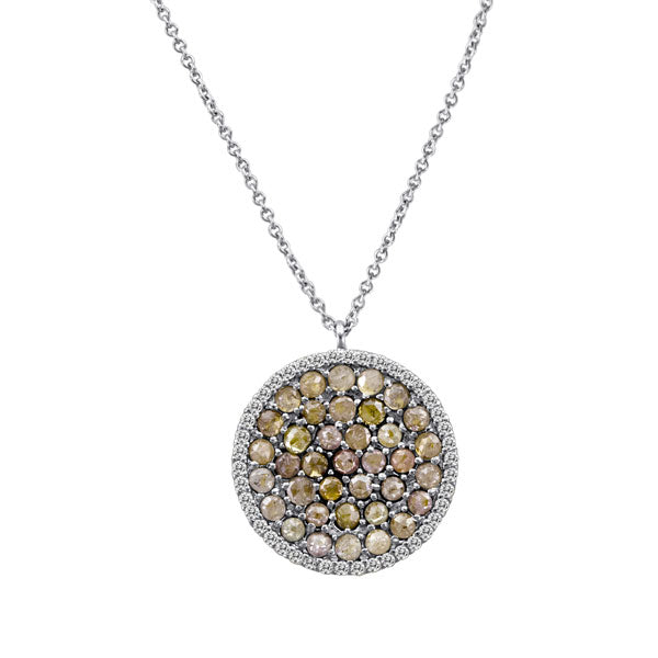 White Gold Rough Diamond Necklace