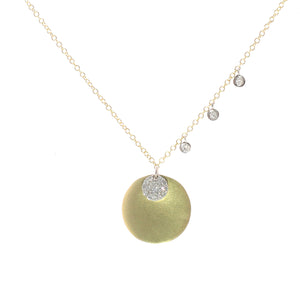 Gold and Diamond Disk Necklace