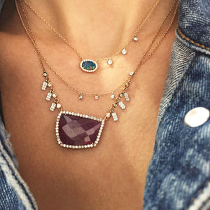 Meira T Blue Sapphire and Diamond Bezel Necklace