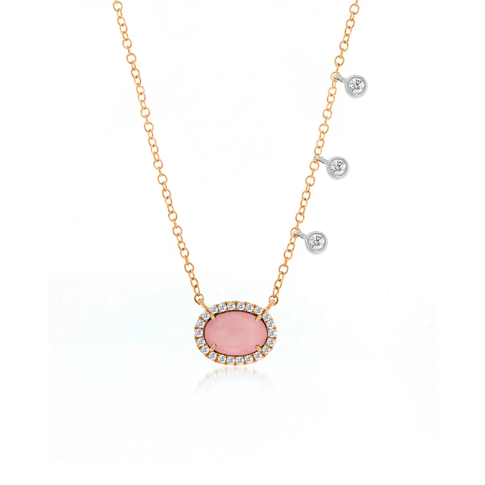 Meira T Pink Opal and Diamond Bezel Necklace
