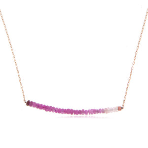 Rose Gold Ruby Beads Bar Necklace