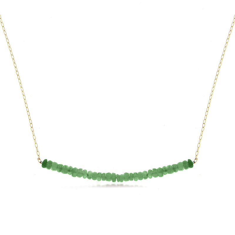 Yellow Gold Emerald Beads Bar Necklace