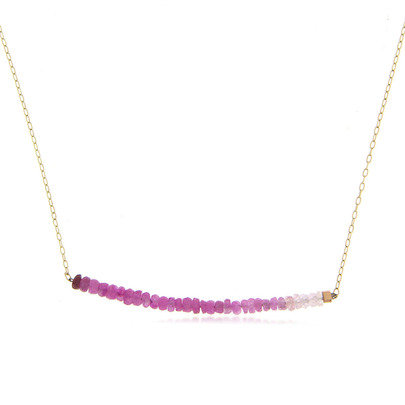 Yellow Gold Ruby Beads Bar Necklace