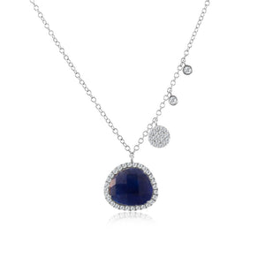 Rough Cut Sapphire Necklace with Diamonds