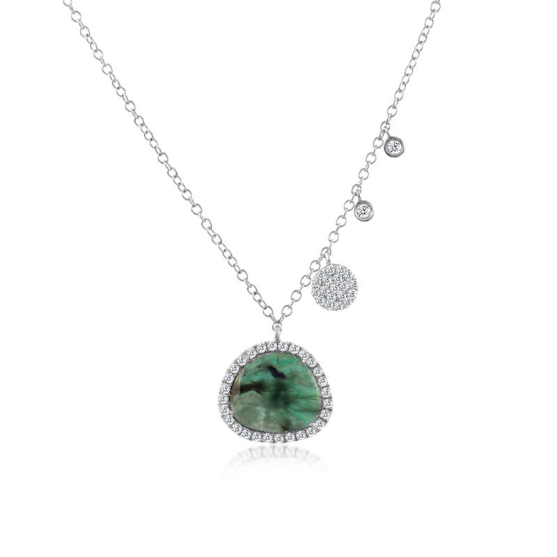 Free Form Meira T Rough Cut Emerald Necklace with Diamonds
