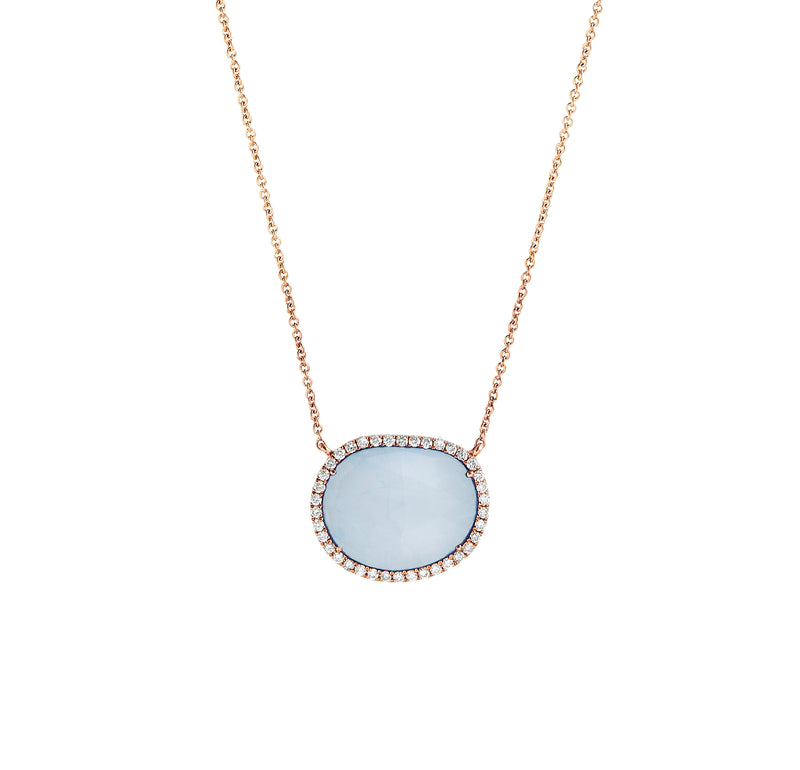Chalcedony Diamond Halo Necklace