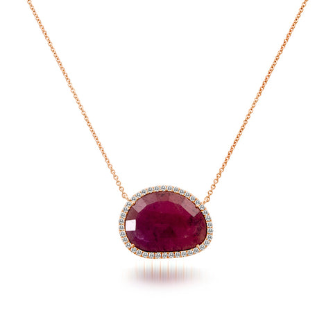 Meira T Rough Cut Ruby Slice Necklace with a Halo of White Diamonds