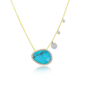 Turquoise Yellow Gold Diamond Necklace ONLY ONE