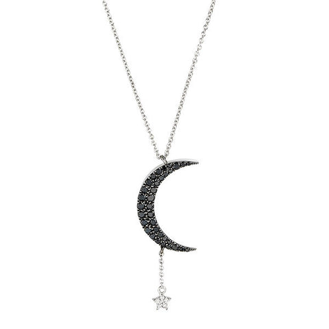 Moon & Star Pave Diamond Necklace