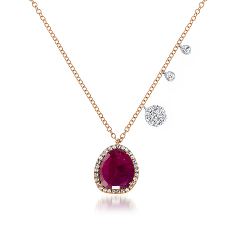 Ruby Diamond and Rose Gold Charm Necklace.