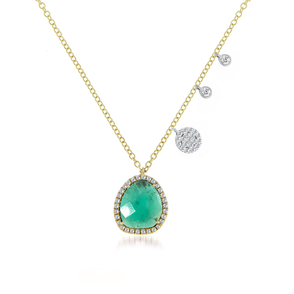 Amazonite Diamond and Yellow Gold Charm Necklace.