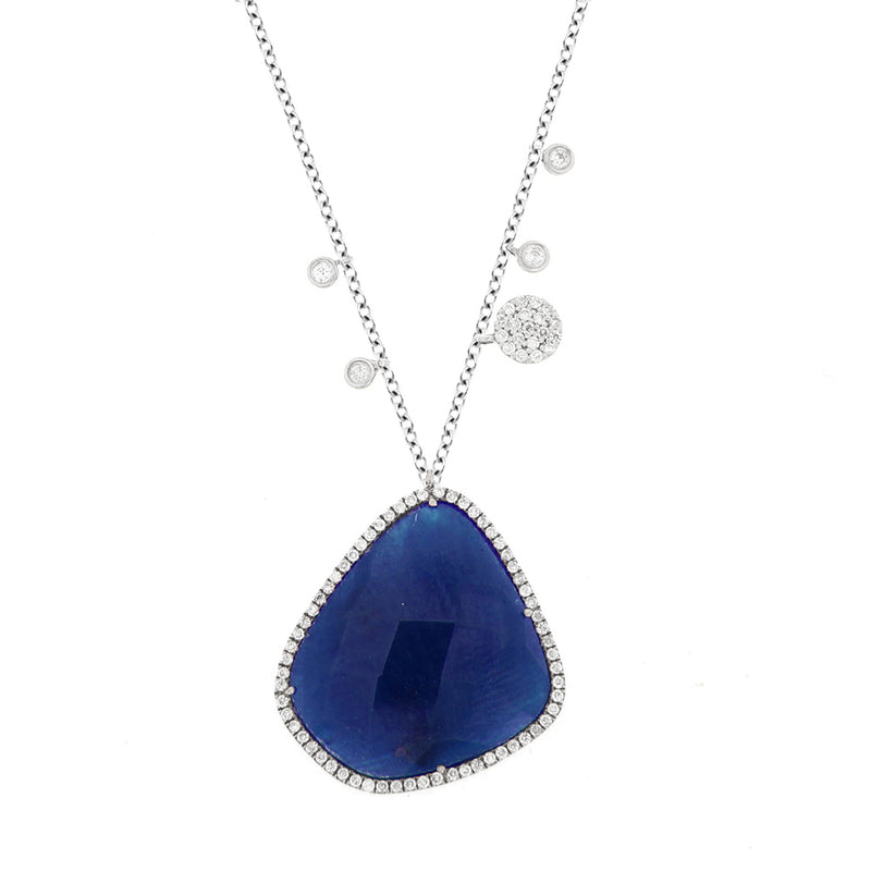 White Gold Blue Sapphire Diamond Necklace